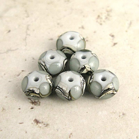 Gray Lampwork Glass Beads Handmade with Silvered Ivory Organic Swirls Set of 6 13x8mm, Pearl Gray