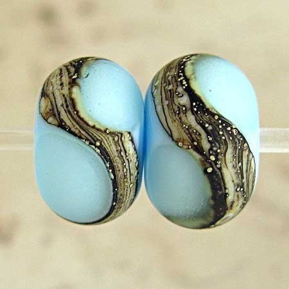Handmade Glass Lampwork Bead Pair Etched Blue with Silvered Ivory Crackle Web Small 11x7mm Retro Sky Velvet