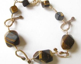 Tiger Eye and Gold-Filled Link Bracelet