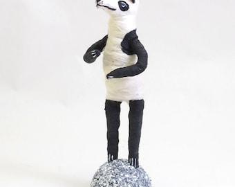 Spun Cotton Vintage Style Panda Bear Figure