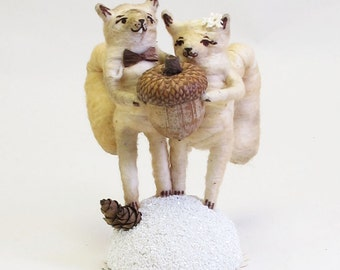 Vintage Style Spun Cotton Squirrel Wedding Topper Light Teastain Color Made to Order