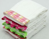 WATERMELON Burp Cloth Bundle of Four, baby girl gift set of hot pink and green coordinating burp cloths