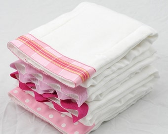 PETAL PINK, Burp Cloth Bundle, newborn gift set of 4 coordinating cloths in shades of light and hot pink for baby GIRL