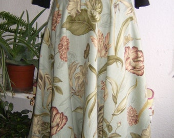 Floral swing skirt, tulip and lily print skirt, Aqua print skirt, 50's retro swing skirt