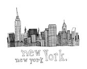 New York, New York 5x5 Print of Original Pen and Ink Drawing