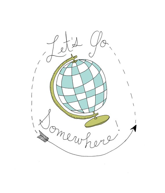 Let's Go Somewhere 5x5 Quirky Illustration Print