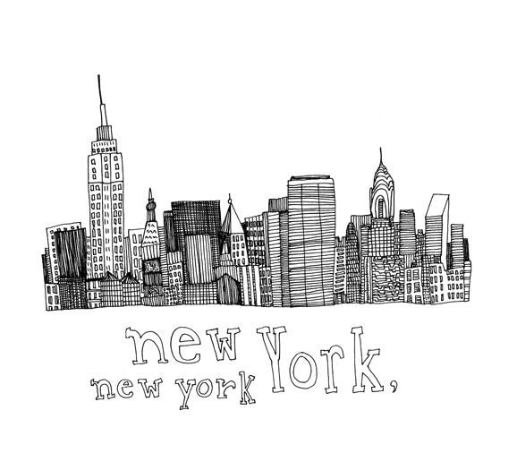 Line Drawing Nyc : New york print of original pen and ink drawing