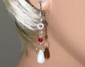 Sea Opal, Ruby Swarovski Crystal, Cubic Zirconia, Sterling Silver Earrings - E451