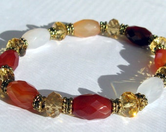 Carnelian, Swarovski Crystal, and Pewter Bracelet - B111