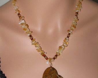 Banded Onyx Heart, Citrine, Vermeil and 14k Gold Filled Necklace and Earring Set - N250