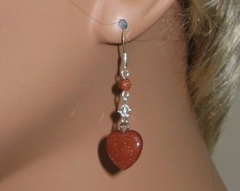 Goldstone, Swarovski Crystal and Sterling Silver Earrings - E274