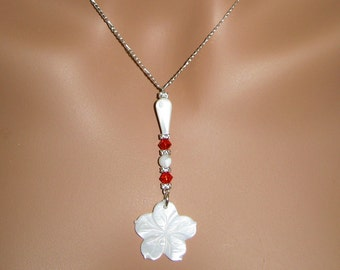 Mother of Pearl. Swarovski Crystal and Sterling Silver Necklace and Earring Set - N270