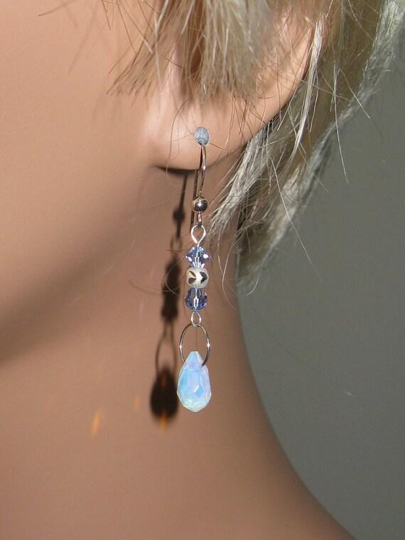 Sea Opal Teardrops, Light Sapphire Swarovski Crystal, Sterling Silver Earrings - E452