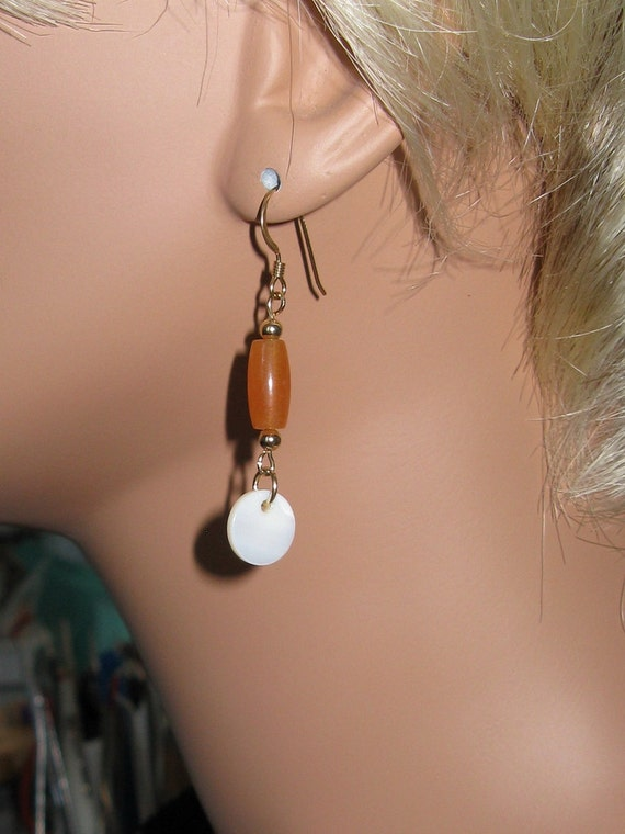 Mother of Pearl. Red Aventurine and 14K Gold Filled Earrings - E271