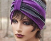 40s Retro Pin Up Girl Striped Stetchy Wide Headband in Deep Purple & Charcoal Grey