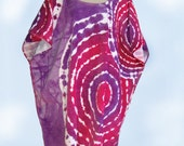 Tie Dye Bath and Beach Terry Cloth Caftan Cover Up Robe Oversized in Red and Purple