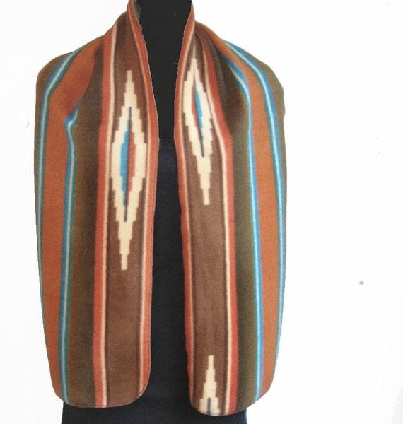 Southwestern Navajo Print  Fleece Scarf Long & Wide UNISEX