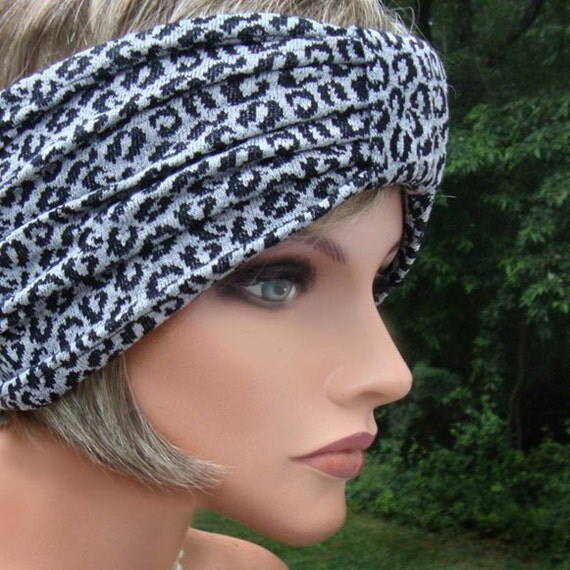 Retro 40's Pin Up Girl Style stretchy Wide Headband in Black Leopard Print
