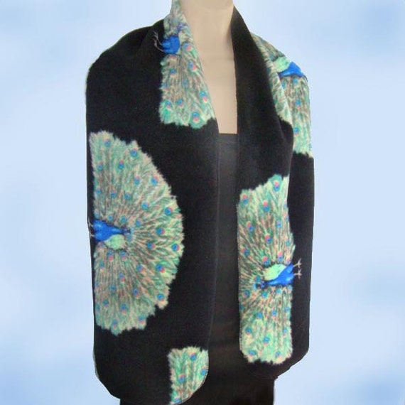 Peacock Birds on Black Print Long & Wide Fleece Scarf