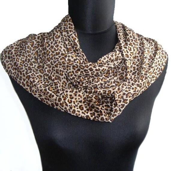 Extra Long Classic Cheetah Leopard Print Four Season Infinity Eternity Endless Loop  Scarf