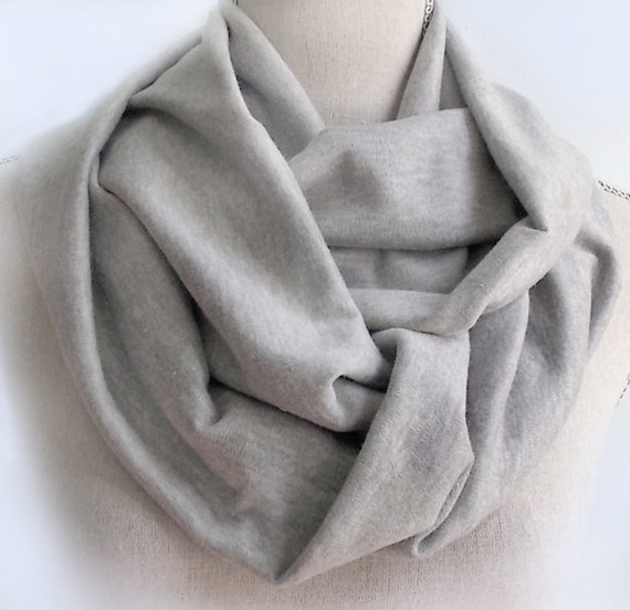 Long Grey Cotton Jersey Infinity Endless Circle Scarf  Cowl and Headcover UNISEX