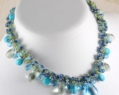 Blue Topaz Turquoise Parasiolite Statement Necklace