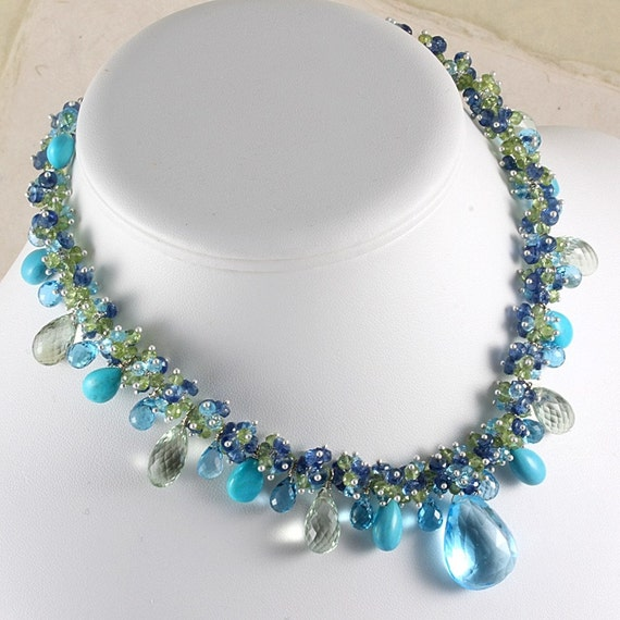Reserved -Blue Topaz Turquoise Parasiolite Statement Necklace