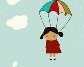 Illustration Art Print - Children's Wall Art - poster, girls room, nursery - You Dropped From Heaven (girl)