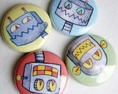 Robot Magnets, Set of Four, robot gift idea, robot kitchen magnets, robot magnet set