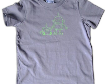 Robot Toddler Tee, green on slate in 2T and 4T, robot graphic tee, big brother tshirt, robot shirt for boy