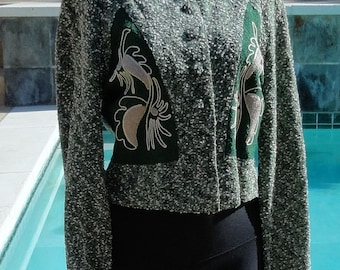 SALE Vintage 1940s Cache Knits Green Ivory Boucle Knit Jacket with Novelty Tufted Couched Design B36
