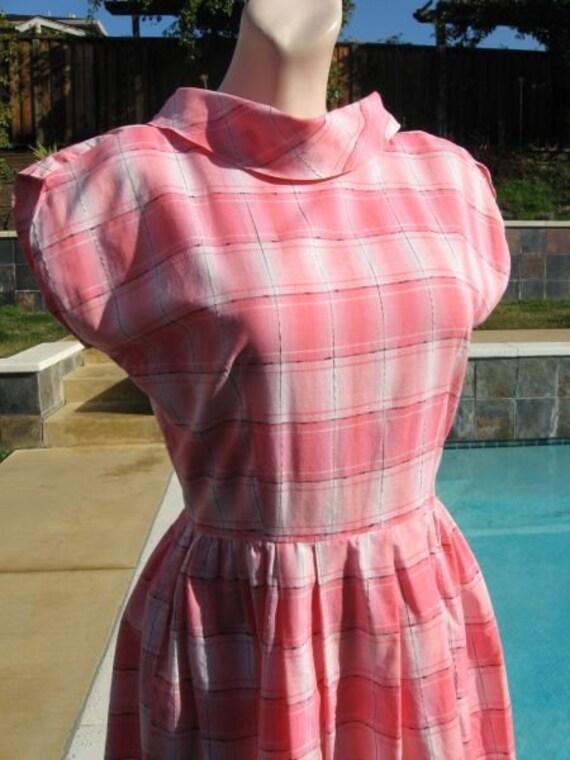 Sugar Sweet Vintage 60s Bublegum Pink Shadow Plaid Day Dress B36 - REDUCED