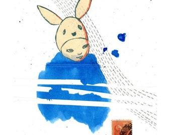 little bunny blue - archival print - A4