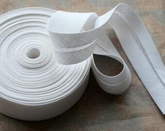 Linen bias tape --  width 3 cm -- 3 meter length -- white