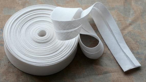 Linen bias tape --  width 3 cm -- white
