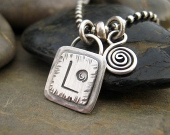 Personalized Monogram Charm Necklace Monogram Jewelry Letter Charm Sterling Silver