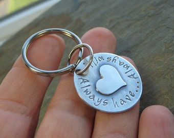Personalized Silver Charm Key Chain Key Ring Custom Hand Stamped Sterling Silver