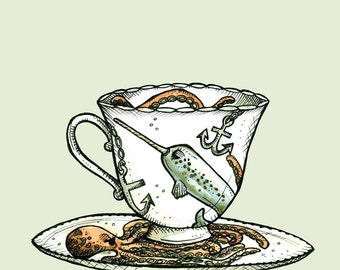 Narwhal and Octopus Teacup Print