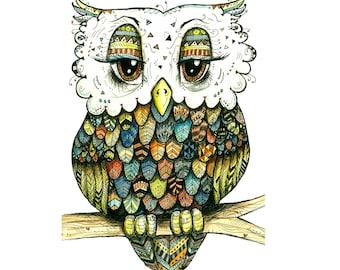 Warm Tribal Owl Print