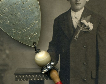 The Bowling Champ--- An Antique Assemblage Bowling Necklace