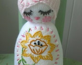 Chickabiddy sock baby rattle sock doll OOAK personalized heirloom keepsake vintage whimsical baby shower toddler