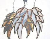 Little Shabby Angel - stained glass hanging angels wings in wispy white MADE TO ORDER
