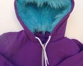 My (Big) Monster Hoodie - Purple and aqua - Adult Unisex XSmall - monster hoodie, horned sweatshirt, adult jacket