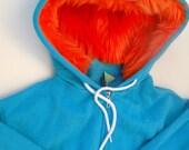 My (Big) Monster Hoodie - Aqua and orange - Adult Unisex Small - monster hoodie, horned sweatshirt, adult jacket