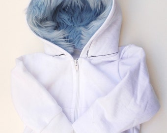 Baby Monster Hoodie - White and blue - 6 months - monster hoodie, horned sweatshirt, infant jacket