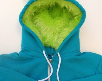My (Big) Monster Hoodie - Aqua and lime - Adult Unisex Medium- monster hoodie, horned sweatshirt, adult jacket