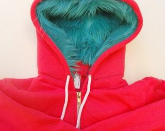 My (Big) Monster Hoodie - Pink and aqua - Adult Unisex Medium - monster hoodie, horned sweatshirt, adult jacket