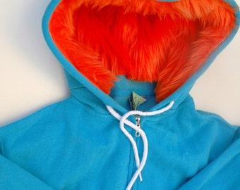 My (Big) Monster Hoodie - Aqua and orange - Adult Unisex 2XLarge - monster hoodie, horned sweatshirt, adult jacket