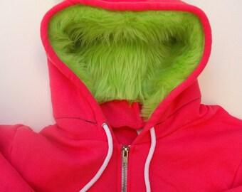 My (Big) Monster Hoodie - Pink and lime - Adult Unisex 2XLarge - monster hoodie, horned sweatshirt, adult jacket
