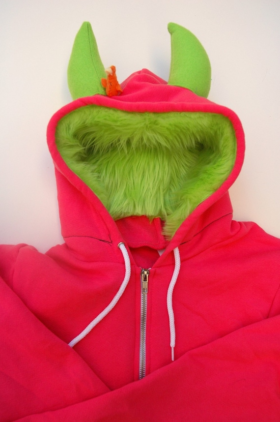 My (Big) Monster Hoodie - Pink and lime - Adult Unisex XLarge - monster hoodie, horned sweatshirt, adult jacket